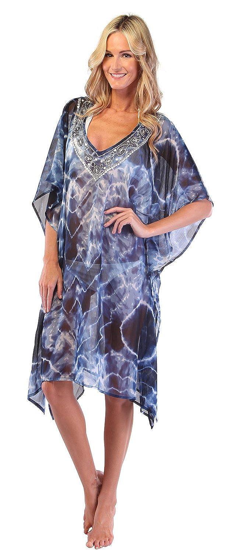 Ingear Embellished Beaded Poncho Blue) IST425-2-BLU-OS