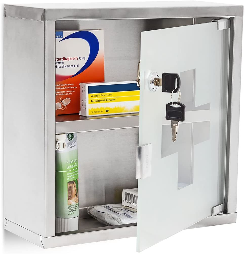 Relaxdays EMERGENCY L Medicine Cabinet, 30 x 30 x 12 cm, 2 Shelves and Locking Door, Stainless Steel and Glass, Silver