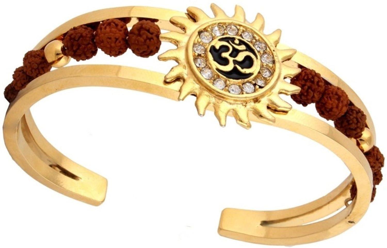 Spangel fashion Rudraksh American Diamond Gold OM Kada Bracelet ...