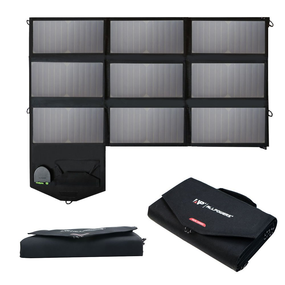 ALLPOWERS 60W Solar Panel Foldable SunPower Solar Charger (Dual 5V USB with iSolar Technology+18V DC Output) for Laptop, Tablet, ipad, iPhone, Samsung, Acer, Asus, Dell, HP,12V Car/Boat/RV Battery by ALLPOWERS