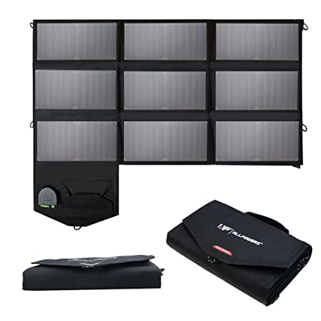 Allpowers 60 W Solar Panel Foldable Sun Power Solar Charger (Dual 5 V Usb With I Solar Technology+18 V Dc Output) For Laptop, Tablet, Ipad, I Phone, Samsung, Acer, Asus, Dell, Hp,12 V Car/Boat/Rv Battery by Allpowers