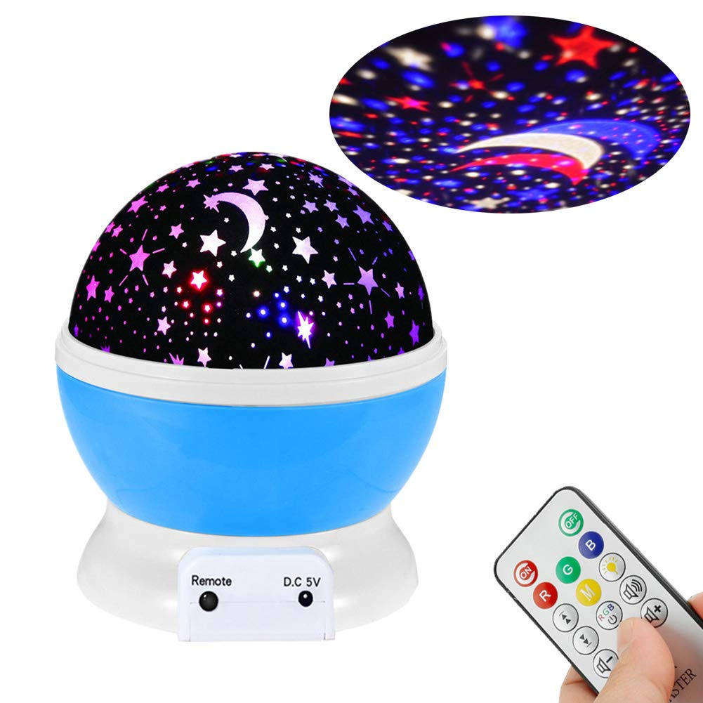 Star Night Light Projector with Music, Night Lights for Kids, USB Rechargeable & Remote Rotating 9 Colors Starry Sky Projector Lamp for Bedroom Decor Nursery Bedtime by YinFengMY