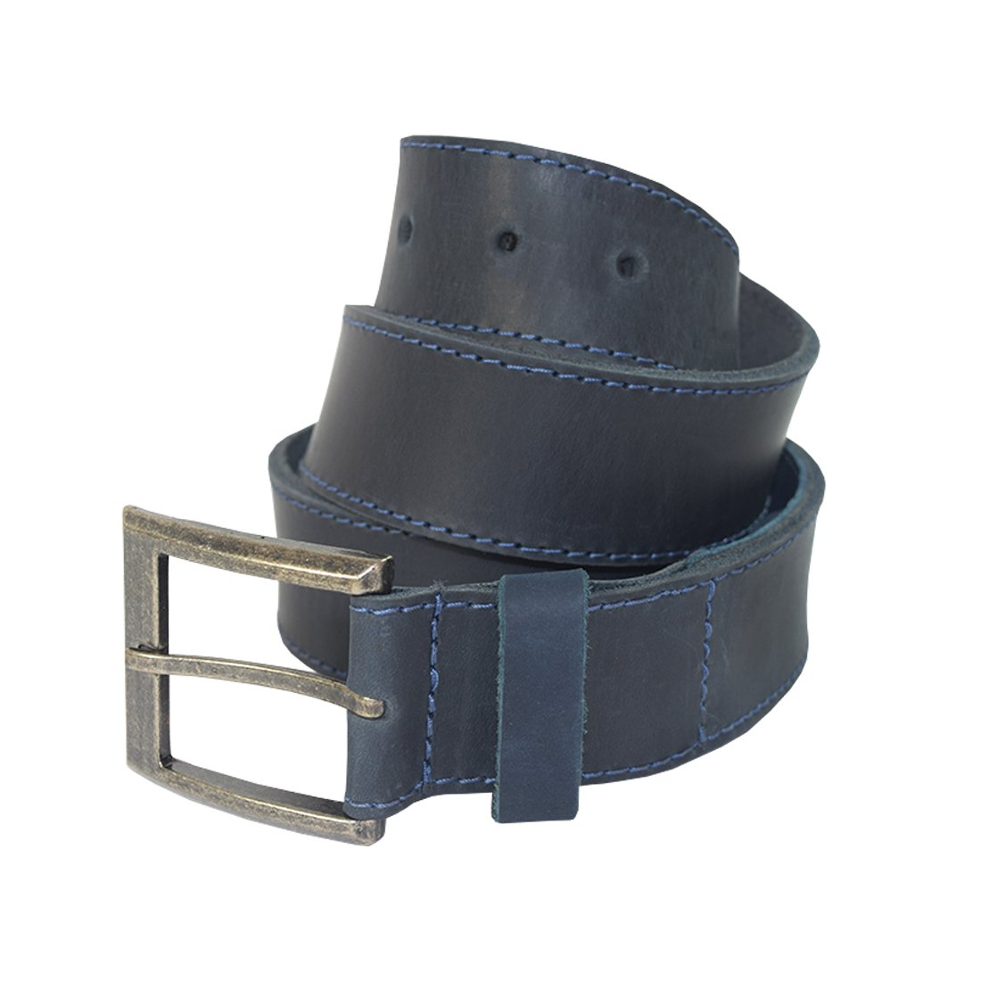 Slate Blue Thick Leather Belt With Hidden Pocket Handmade by Hide /& Drink Includes 101 Year Warranty