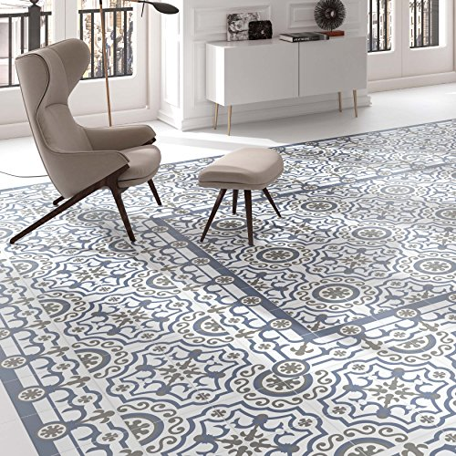 """SomerTile FCD10HDU Hydro Ducados Porcelain Floor and Wall Tile, 9.75"""" x 9.75"""", White/Blue/Grey"""