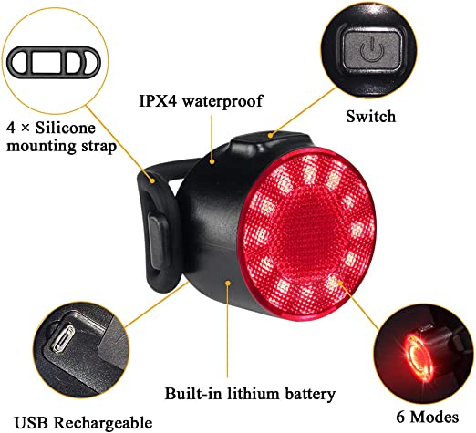 UNRESTRAINED 2PCS Bike Lights with 5 Led Bulbs and 4 Light Modes,Rear Bike Light Set USB Rechargeable,Waterproof IPX4 Includes 2 USB Cables,1 Silicone Led Bike Light and 2 Mounting Belt