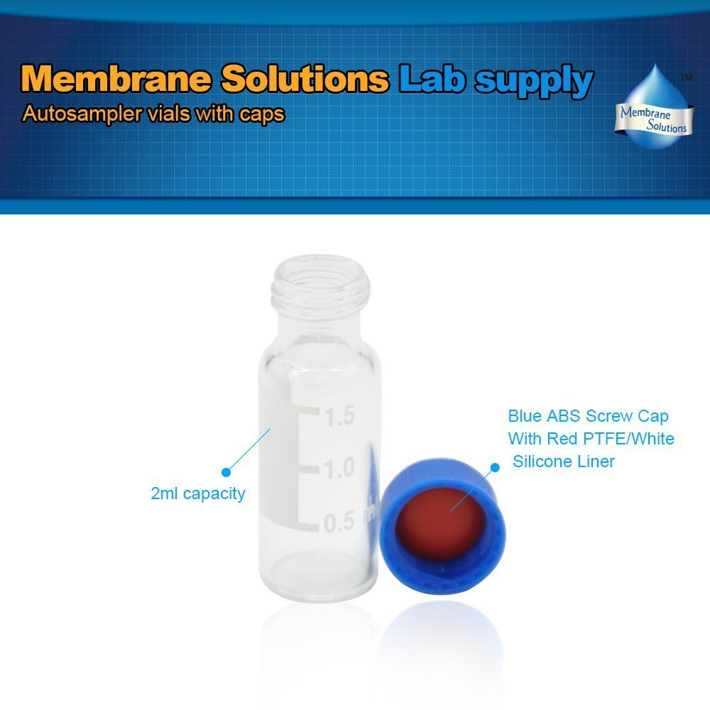 Clear 100pcs//pack 2ml Sample Vials+Caps Membrane Solutions 9-425 Physical Chemistry Laboratory HPLC Autosampler Vial with Writing Patch