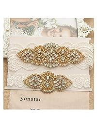 Yanstar Wedding Bridal Garter Off-White Stretch Lace Bridal Garter Sets With Gold Rhinestones For Wedding