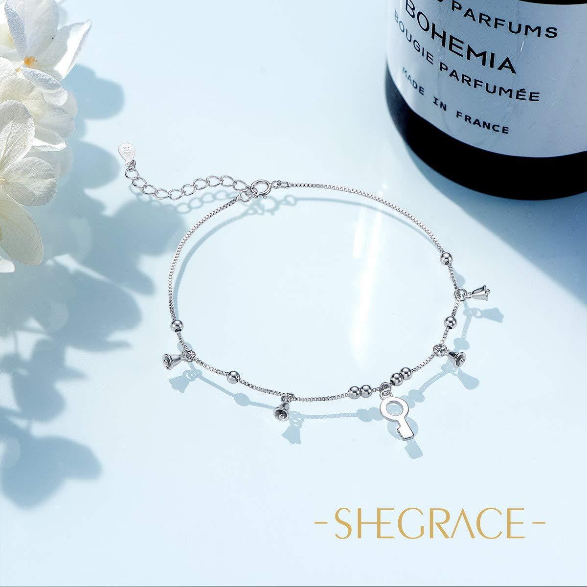 SHEGRACE Bracelet de Cheville 925 Pur Argent 925 Sterling Platine 210mm Chaine de Cheville avec Pendentif Cle et Petits Cloches mignion