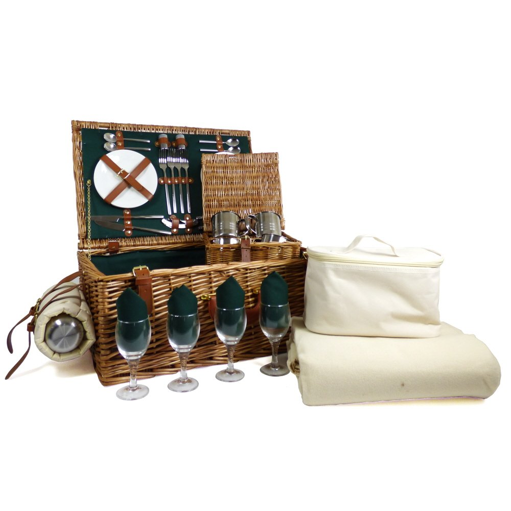 Regal 4 Person Wicker Picnic Basket Set with Cream Fleece Blanket - Gift Ideas for Mom, him, her, Birthday, Wedding, Anniversary, Business, Thank You, Fathers Day, Family, Vacation, Teacher, Dad