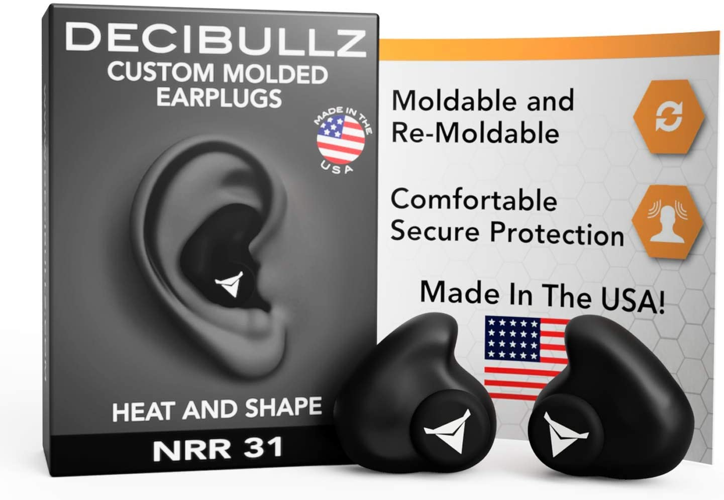 Decibullz - Custom Molded Earplugs, 31dB Highest NRR, Comfortable Hearing Protection for Shooting, Travel, Swimming, Work and Concerts (Black): Health & Personal Care
