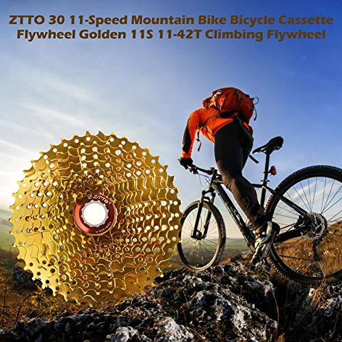 30 11-Speed Mountain Bike Bicycle Cassette Flywheel Golden 11S 11-42T Climbing Flywheel by ZTTO (Best Cassette For Climbing)