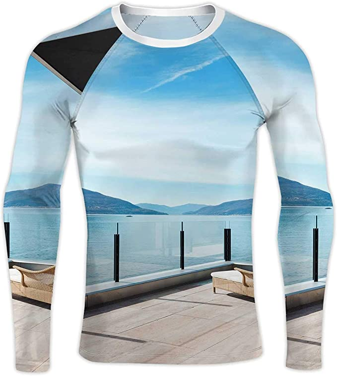 Modern Architecture,Womens Shirt 3//4 Sleeve Casual Tops Tee S-XXL Beautiful Lake View from The Terrace of a Penthouse S