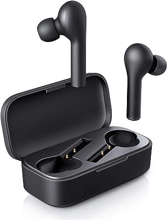 AUKEY Écouteurs Bluetooth 5 sans Fil Stéréo Oreillettes, 25 Heures d'Autonomie avec Étui de Chargement, Contrôle Tactile, Appariement Automatique, Microphones Intégrés pour Android et iOS