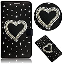 Bonice ZTE Grand X Max 2 Diamond Wallet Case, Glitter Bling Diamonds [Stand View] PU Leather Folio Flip & Card Slots Holder Wallet Cases for ZTE Grand X Max 2/ZMax Pro, Black Love Heart