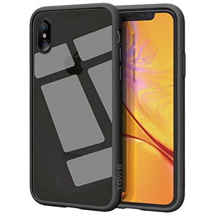 OCYCLONE iPhone Xs Max Case Clear, Slim Tempered Glass Back TPU Bumper  Protective Case Cover for iPhone Xs Max-Black