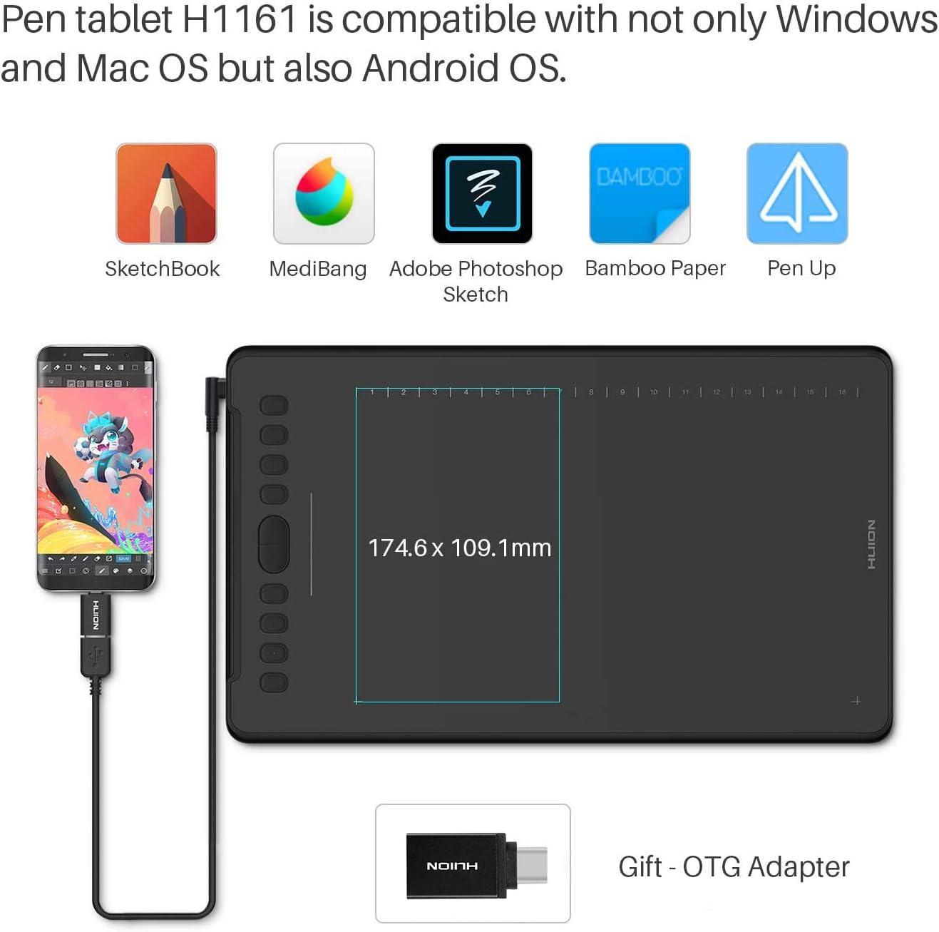 Huion Inspiroy H1161 Grafiktablett Drawing Tablet Mit Computer Zubehör