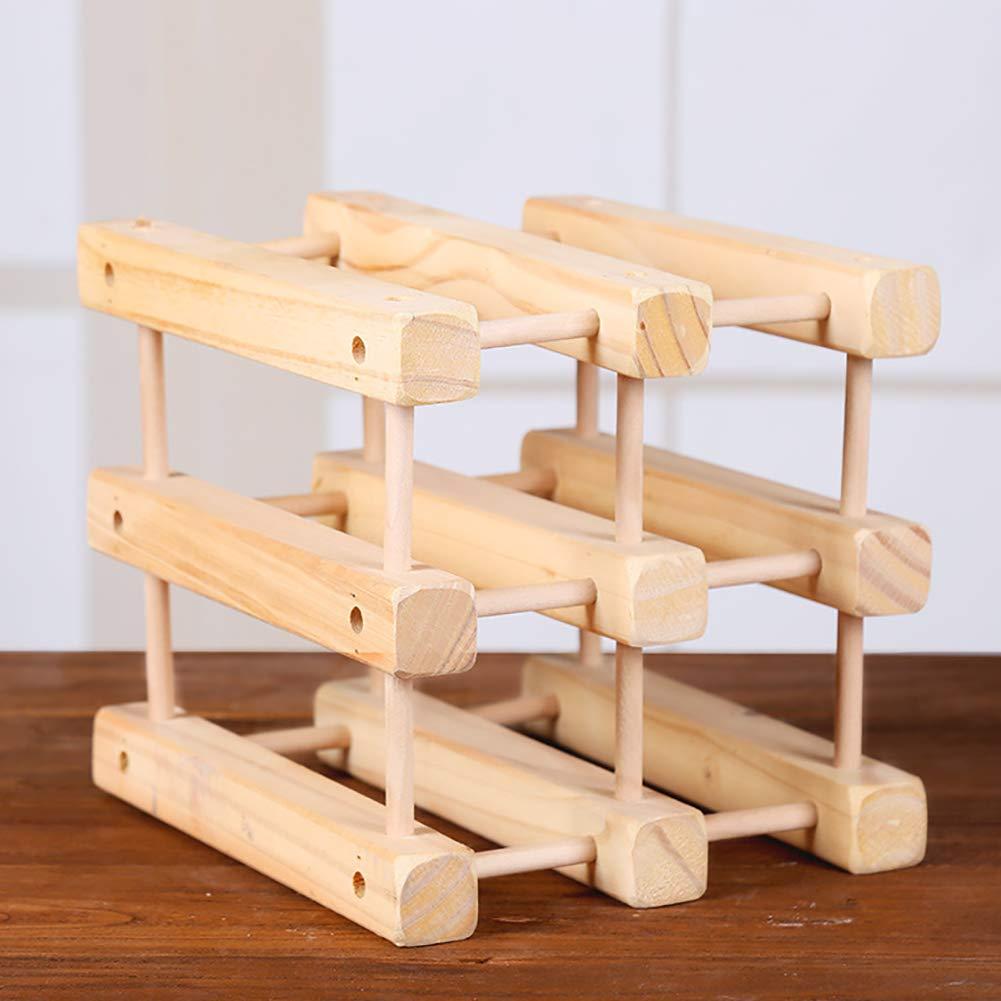 JLNHSDR Fashion Handmade DIY Wine Rack - Simple Bottle Holder Pine Material - Suitable for Decorating The Living Room and Dining Room by JLNHSDR