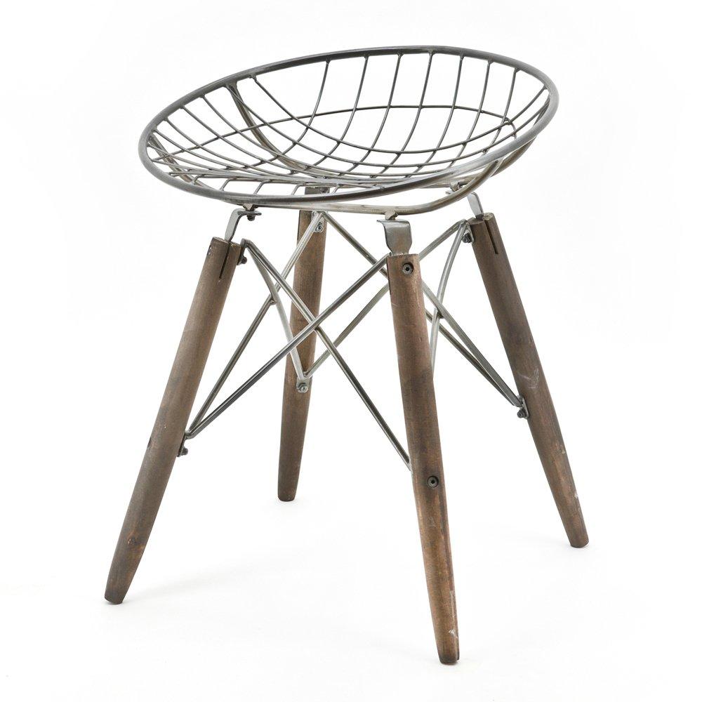 Industrie Design Sitzhocker Hocker Stuhl WIRE rund Vintage Holz ...
