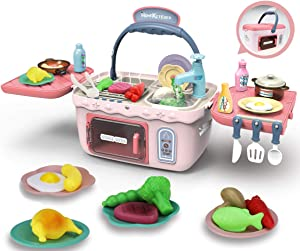 Yoego Kids Picnic Toy Kitchen PlaySet, Portable Picnic Basket Toys with Color Changing Food, Waterproof Water Tap, etc, Fun with Friends Toy Kitchen Sets Gift for Kids Boys Girls(26 Pack)