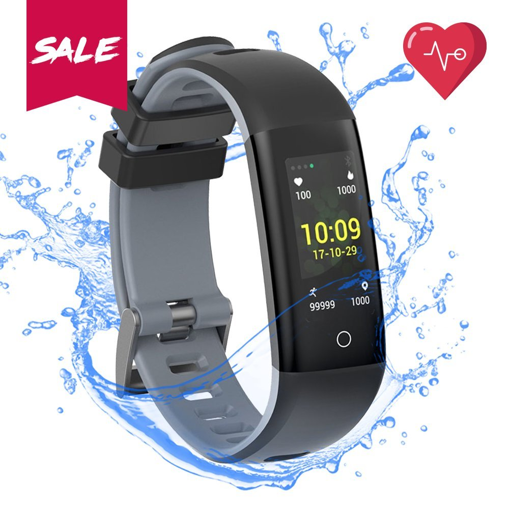 READ Fitness Tracker Blood Pressure Heart Rate Sleep&Monitor G16 Health Tracker Step Distance Calories Counter pedometer IP67 Waterproof Smart watch Call SMS SNS Remind Watch for Android IOS (grey)