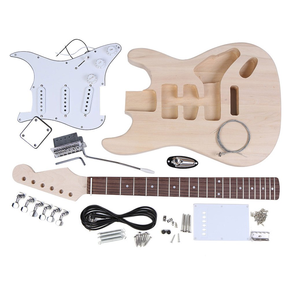 Andoer ST Style Electric Guitar Basswood Body Maple Neck Rosewood Fingerboard DIY Kit Set