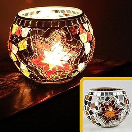 JEssie vaso candelero de cristal Lámpara de mesa de titular de vela electrónica para pub / decoración del hogar con diferentes diseños de patrón para elegir 105x80mm 70mm (A)