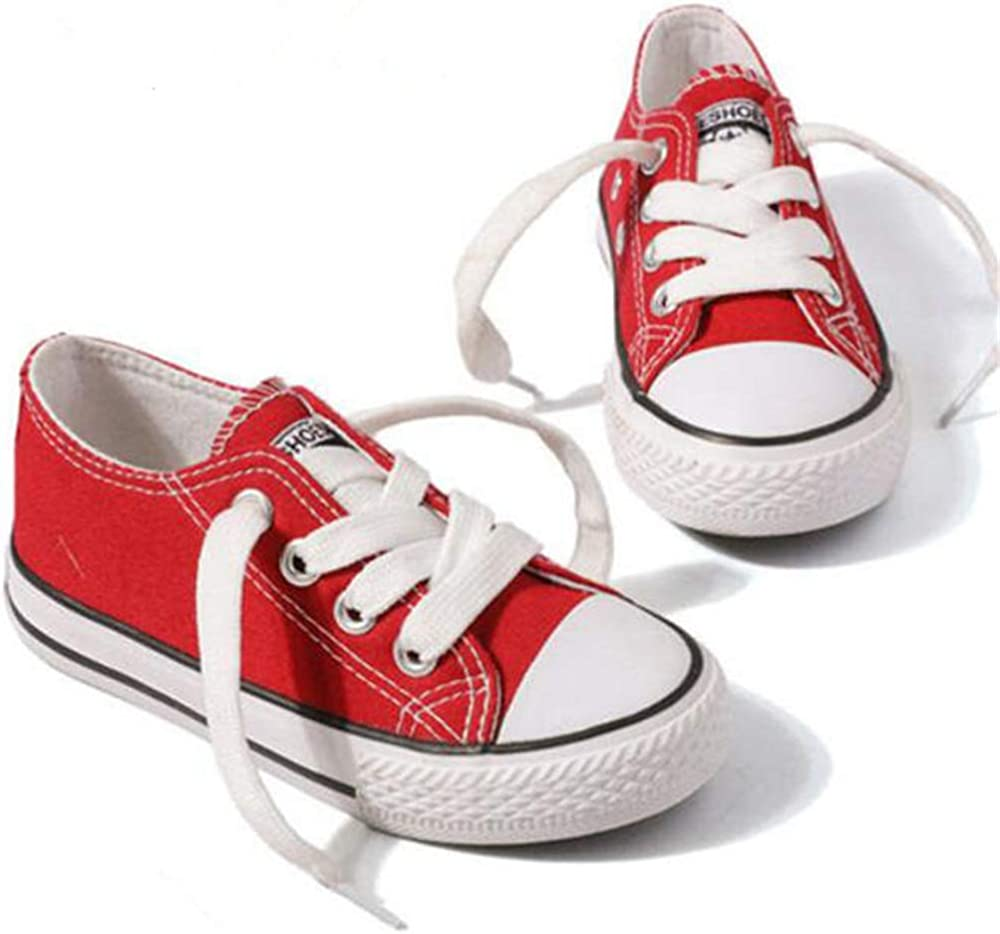 Red,EU 27//10 M US Toddler Kids Boys and Girls Slip On Canvas Sneakers