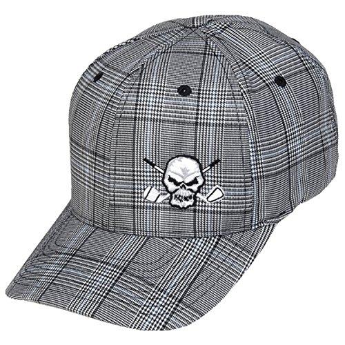 Tattoo Golf Plaid Skull Hat - L/XL - (7 1/8 - 7 5/8) - Charcoal ()