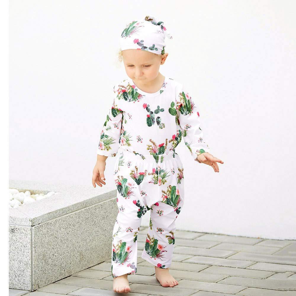 XUANOU Baby Long Sleeve Cactus Print Top Long Pants Set Infant Baby Boys Girls Cactus Print Tops Clothes Outfits Set