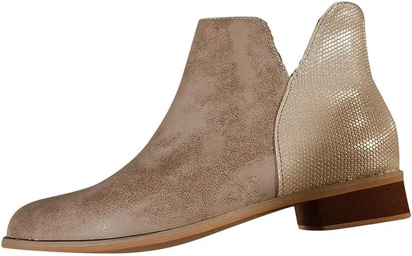 Celucke Stiefeletten Damen Ankle-Boots Flach Spitze Stiefel Kurzstiefel mit Reissverschluss Frauen Wildleder Schuhe Bequem Damenschuhe Mode Elegant Halbstiefel