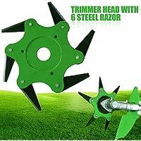 Lawn Mower Head Trimmer Head with 6 pcs 65Mn Steel Blades Razors Grass Cutter Head Accessory Tools