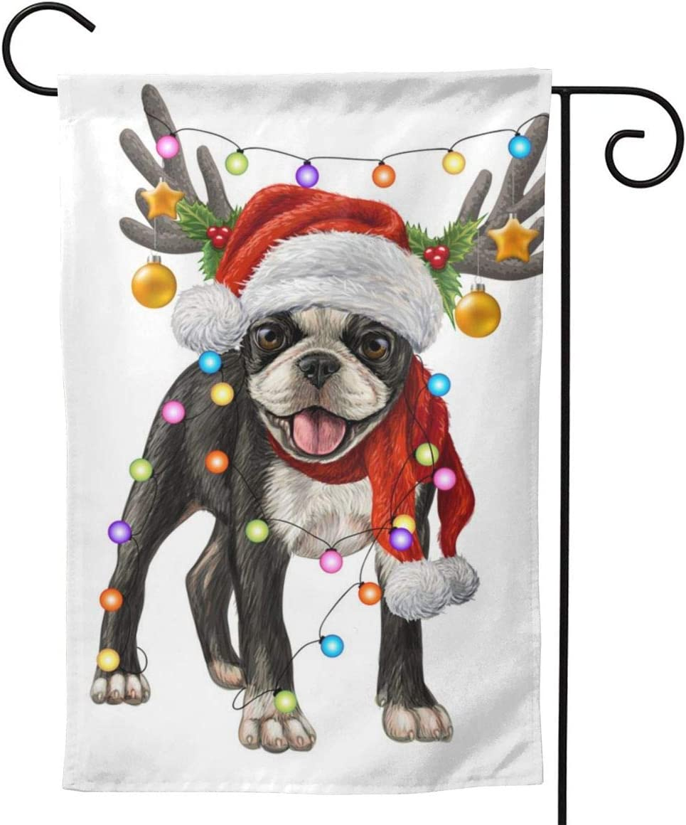 Boston Terrier with Christmas Decorations Garden Flag Decorative House Yard Decoration Holiday Red White Blue Seasonal Home Outdoor Vintage Decor 12 x 18 Summer…