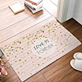 Olivefox Funny Waterproof Bathroom Doormat Home Decor Welcome Large Mat Entrance Way Indoor/Outdoor Carpet Floor Rugs 30x18 Inch, Love Is Forever Gold Polka Dots Stripes Pink