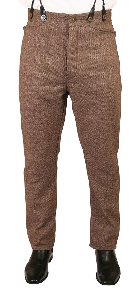 Men's Victorian Costume and Clothing Guide Herringbone Tweed Dress Trousers Historical Emporium Mens  $79.95 AT vintagedancer.com