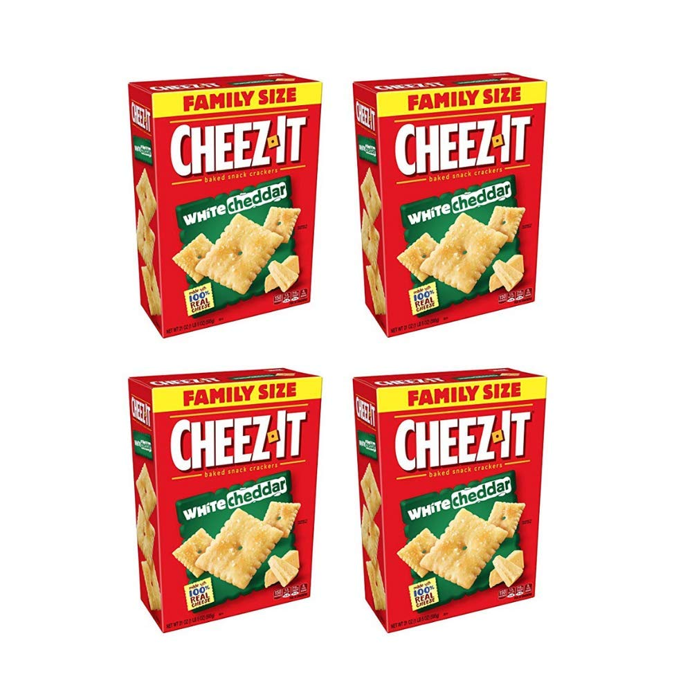 Cheez-It Baked Snack Cheese Crackers, White Cheddar, Family Size, 21 oz Box - Pack of 4 by Cheez-It