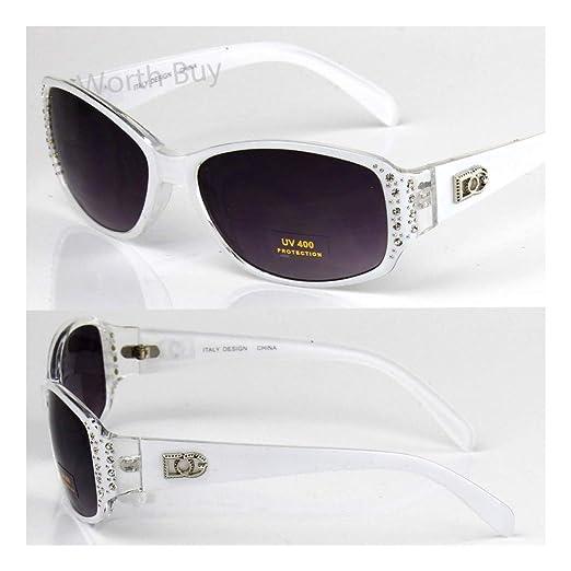 9557bda5280 Amazon.com  New DG Eyewear Designer Womens Rhinestones Sunglasses Shades  Fashion White Oval  Clothing