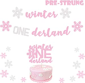 Glitter Pink Winter Onederland Banner Winter First Girl Birthday Party Decor Winter Wonderland Christmas Little Snowflake 1st Birthday Baby Shower Party Supplies Decorations Photo Prop