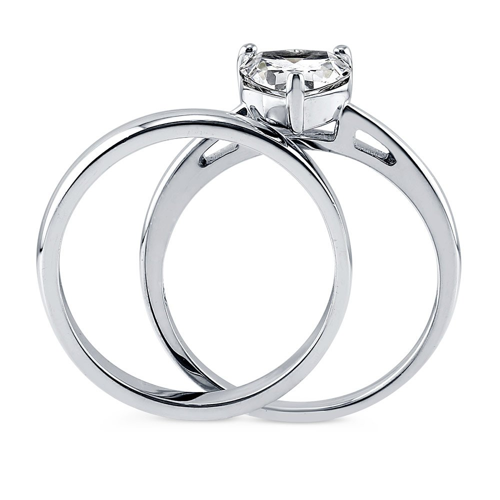 BERRICLE Rhodium Plated Sterling Silver Cubic Zirconia CZ Heart Solitaire Engagement Ring Set Size 8 by BERRICLE (Image #4)