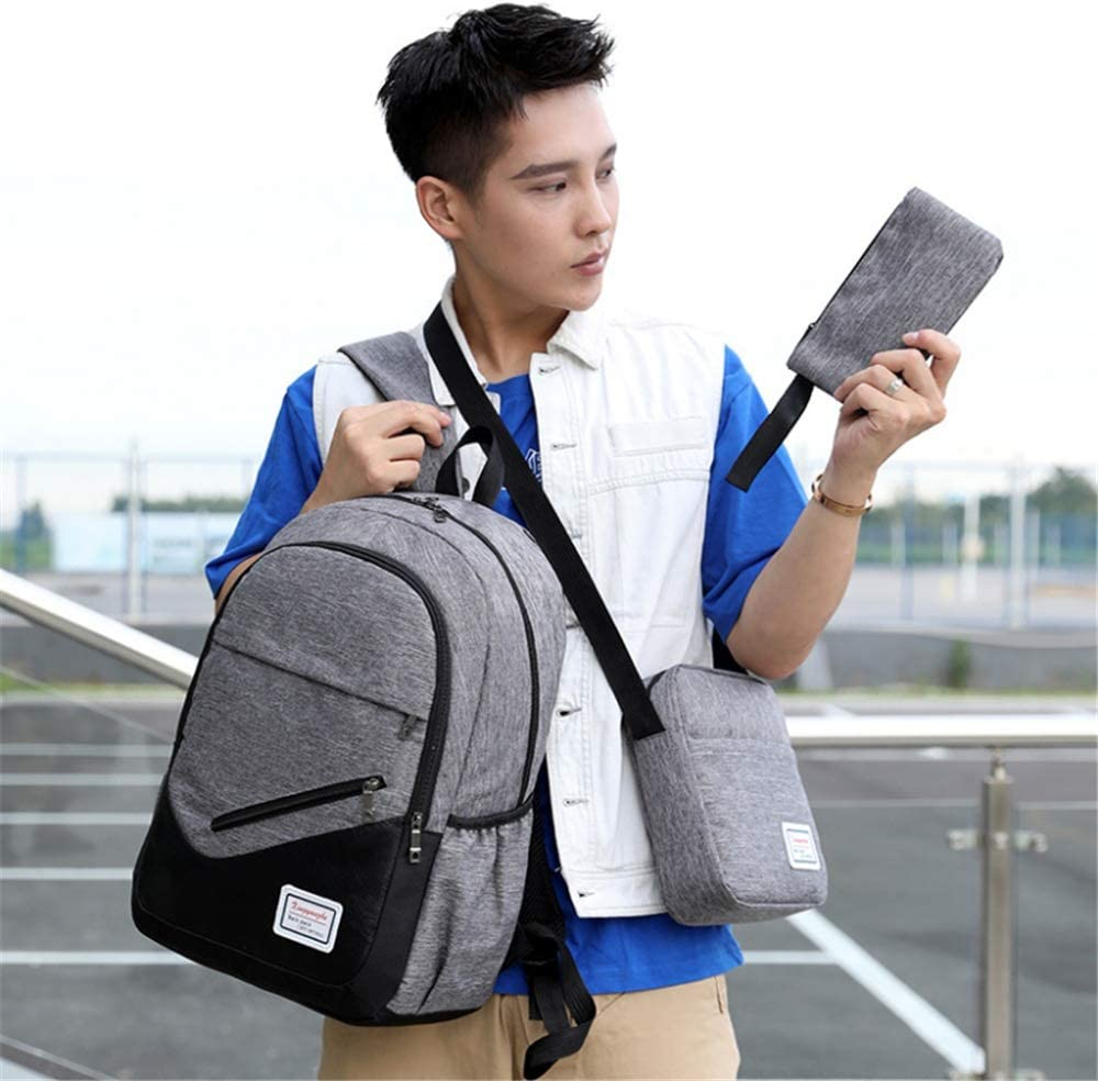 School Bag Backpack Casual Girls and Boys 3 Pcs Teens Backpack Sets 3 in 1 Laptop Bag Students Backpack Shoulder Bag Purse School Bookbag Canvas SchoolBags for Travel Daily Use Kids Backpack
