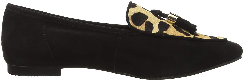 Unbekannt Damen Farley Geschlossene Ballerinas (schwarz Multicolour (schwarz Ballerinas Suede/ Leopard 03532) 7025af