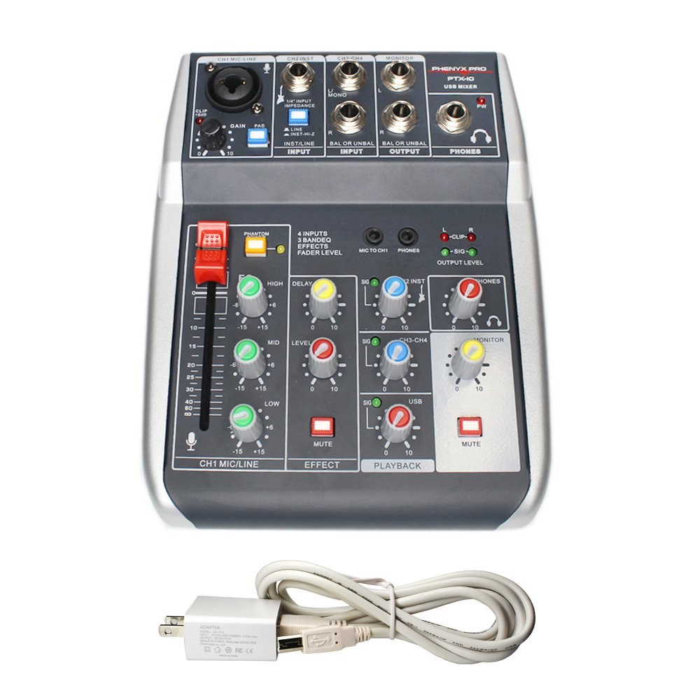 Phenyx Pro 4-Channel Audio USB Mixer, 4-Input, 3-Band EQ, Compact Size With Effects And USB Audio Interface To Computer/PC, Ideal for Home Recording, Small Gigs, Live Music (PTX-10) by Phenyx Pro (Image #1)