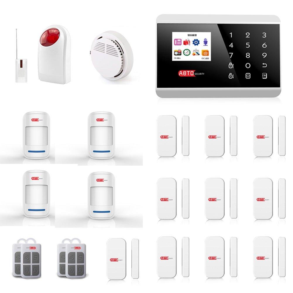SZABTO Alarmanlage mit Telefon-Modul Und GSM-Modul als Einbruchschutz Sicherheit durch Bewegungsmelder und Türsensoren Sicherheitstechnik ohne Kabel zu verlegen (B)