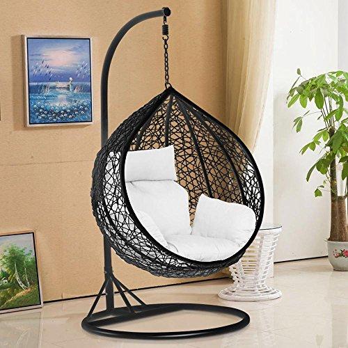 tinkertonk Garden Patio Rattan Swing Chair Wicker Hanging Egg Chair Hammock w/Cushion & Cover Indoor or Outdoor---Max.150kg Black