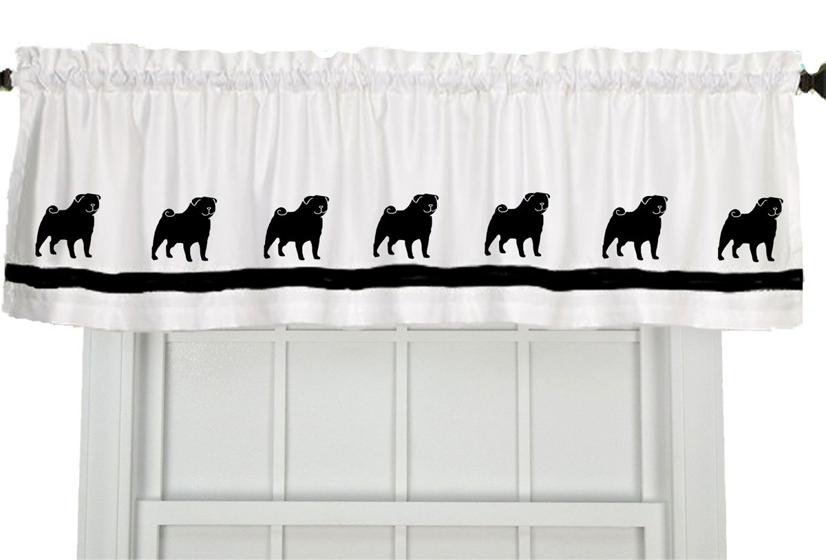 Pug Dog Window Valance Curtain – In Your Choice of Colors – Custom Made