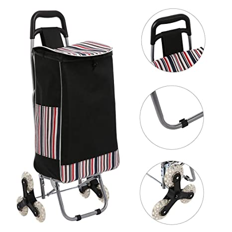 Portable Folding Stair Shopping Cart, Heavy Duty Rolling Aluminum Climbing Cart Grocery Laundry Utility Cart