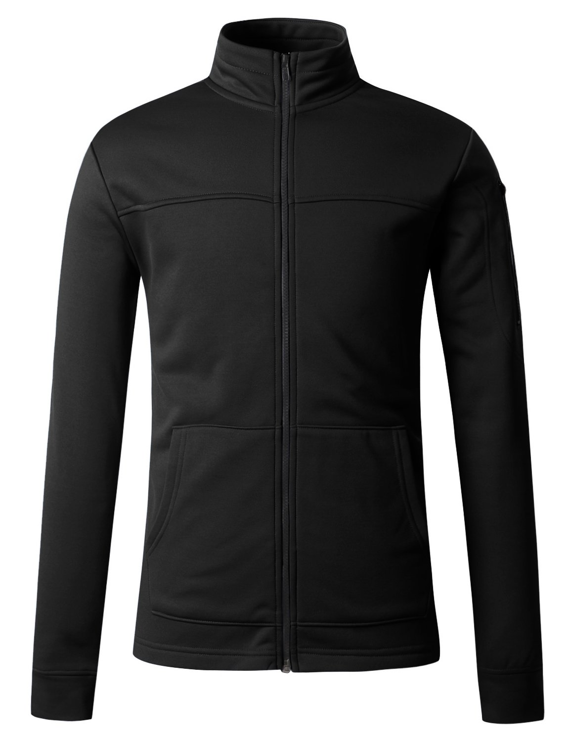 Regna X Mens Zipped Pockets Track Black Medium Fleece Arm Pocket Jackets by Regna X