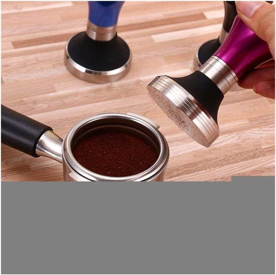 LANGPIAOEZU Inox Maniglia 58mm Piatto Compressore del caffè in Acciaio Inox Silicone Base Tamper Polvere di caffè Hammer Personalizzata Coffeeware caffè Tamper (Color : Pink) Pink