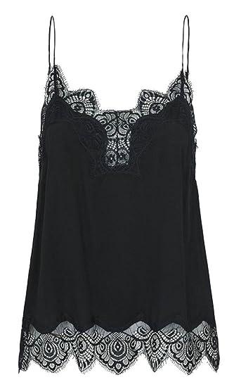 Papijam Women s Lace Splice Low Cut Spaghetti Strap Sexy Blouse Tank Tops  at Amazon Women s Clothing store  3c6336ef1