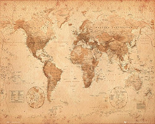 World Map Antique Style Art Print Poster
