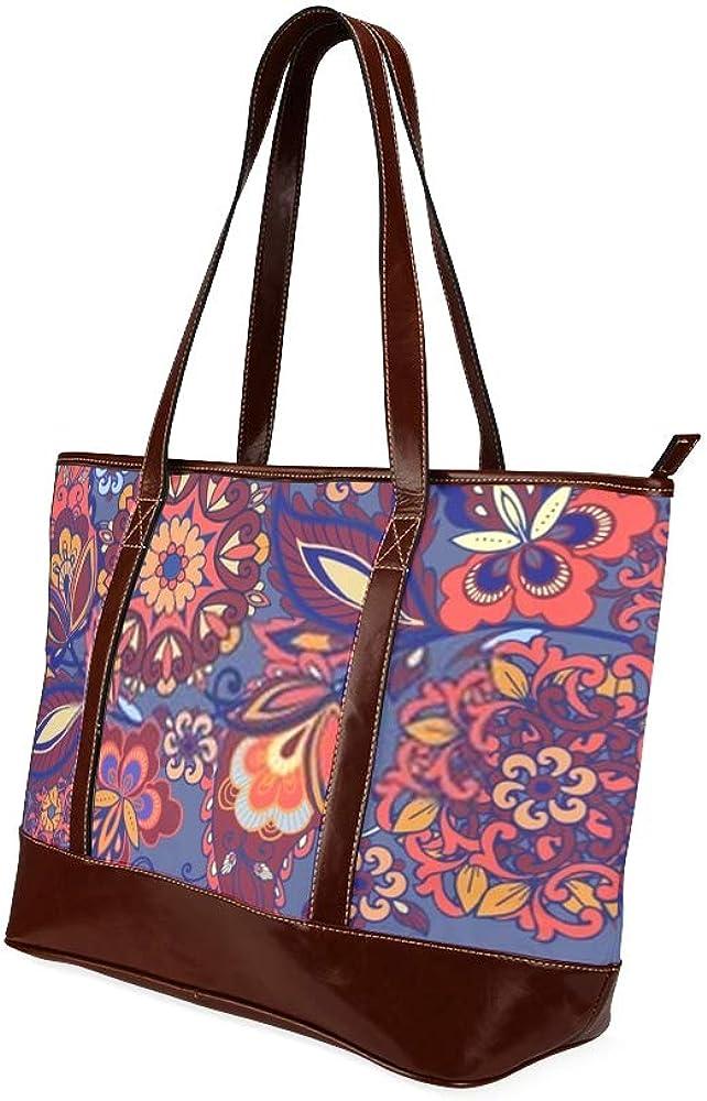 Tote Bags Striped Indian Seamless Pattern Colorful Ornamental Travel Totes Bag Fashion Handbags Shopping Zippered Tote For Women Waterproof Handbag